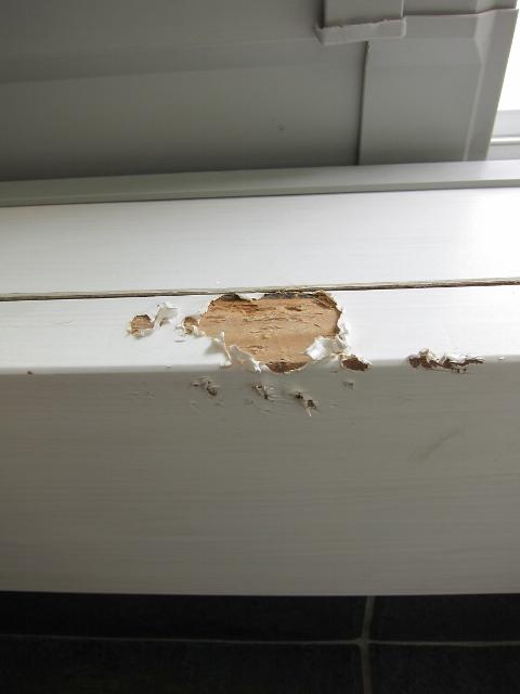 玄関框・枠かじり跡補修