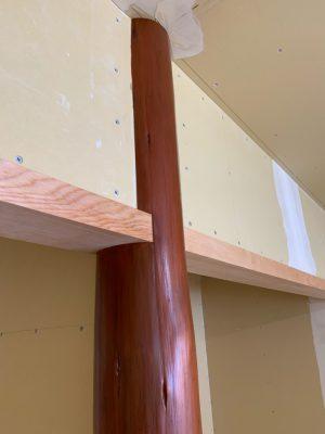 床柱の切り欠き跡補修